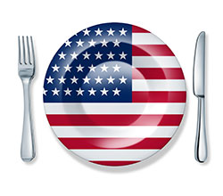 Fork plate knife isolated U.S.A. flag cuisine