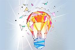 Glowing polygonal light bulb
