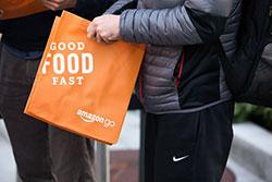 Amazon Go orange reusable bag