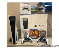 Sony PlayStation 5 (PS5) Console - Disc Version Bundle - 2 Controllers -6 Games
