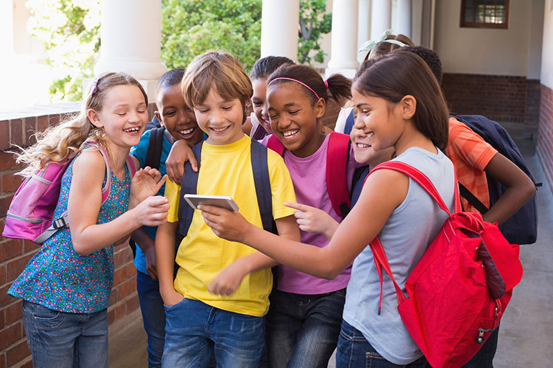 Students posing for a school video