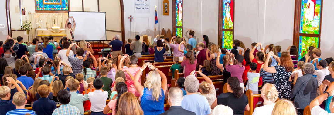 People participating in a church activity