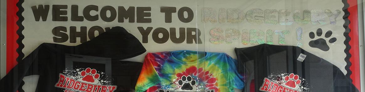 Welcome to Ridgebury! Show your spirit t-shirt display.