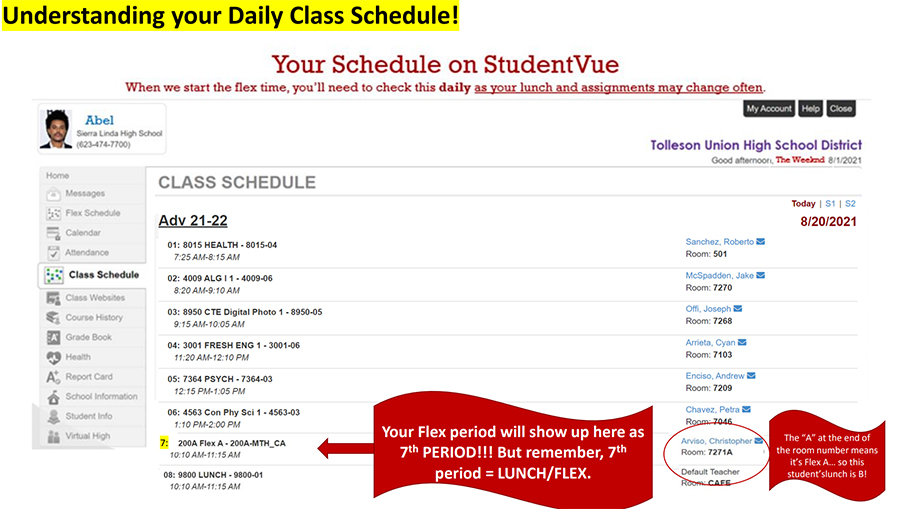 Understanding your daily class schedule! Your flex period will show up here as 7th period, but remember. 7th period equals LUNCH/FLEX. The A at the end of the room number means it's Flex A. so this student's lunch is B.