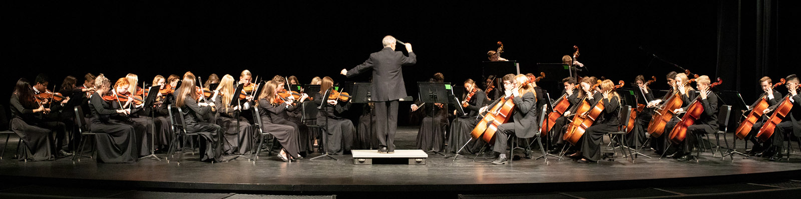 Orchestra playing on stage