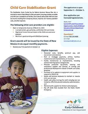 Child Care Stabilization Grant Flyer page 1