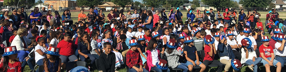 Students outside with patriotic gear