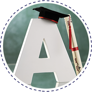 The letter A with a graduation cap