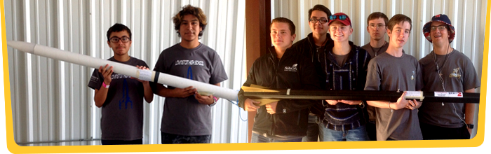 Students with rockets