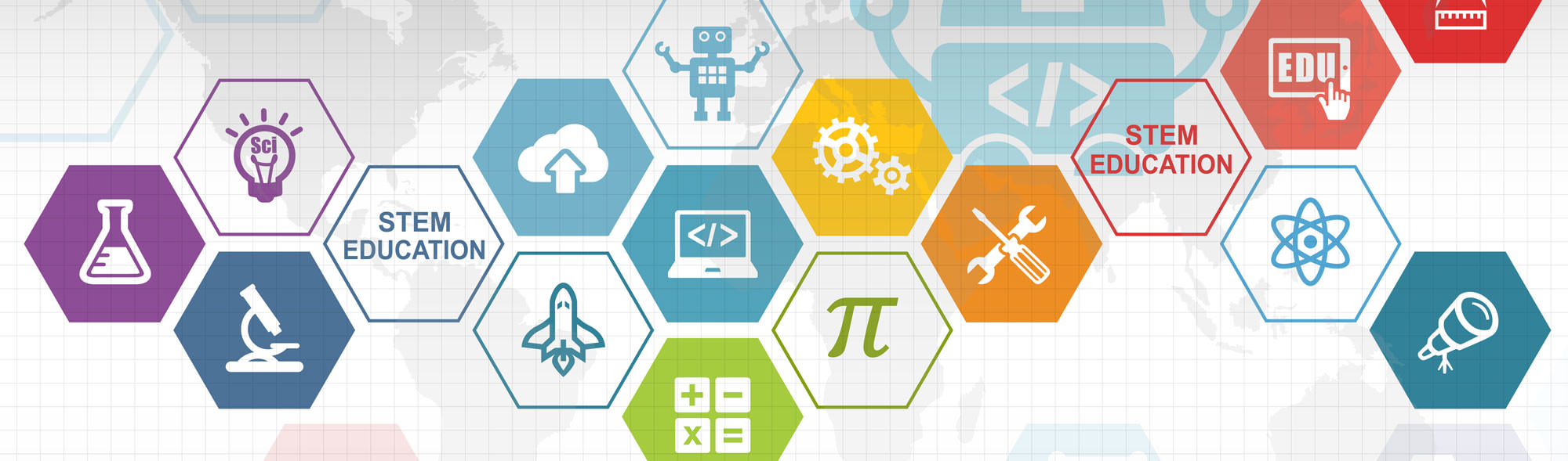 Icons and graphics related to STEM subjects