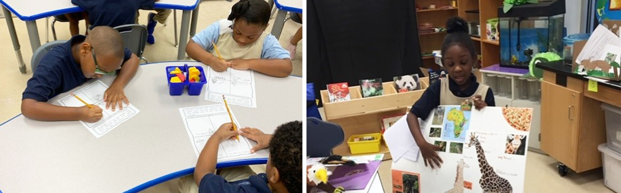 Students at desk with worksheets and student presenting giraffe poster