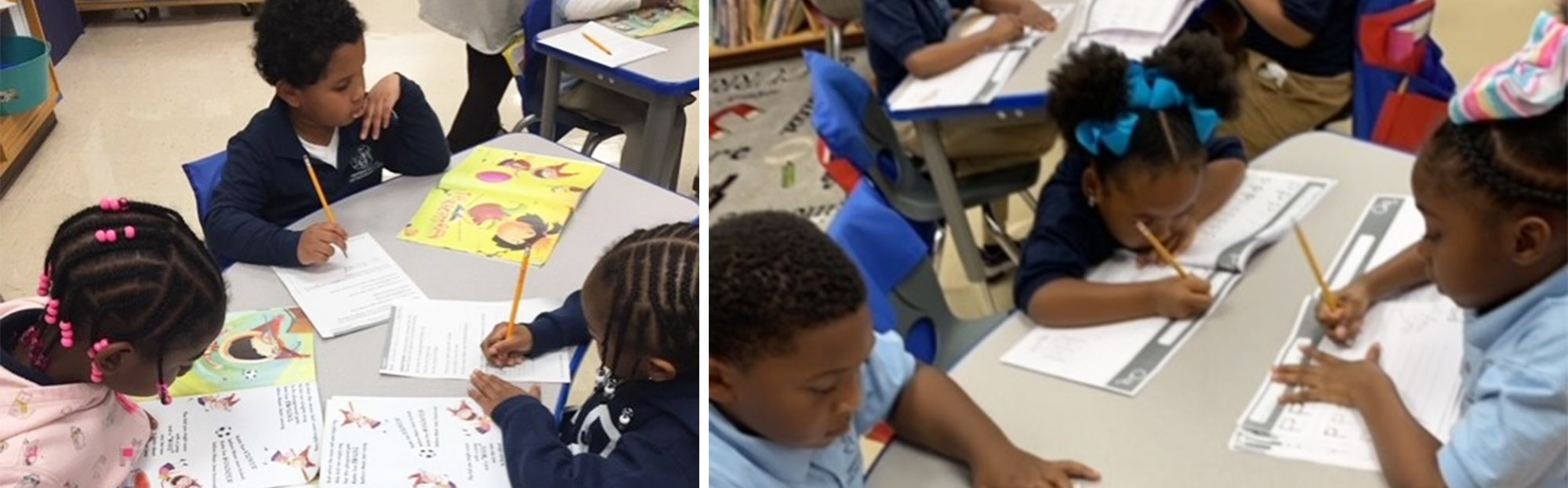 Students working in groups in the classroom