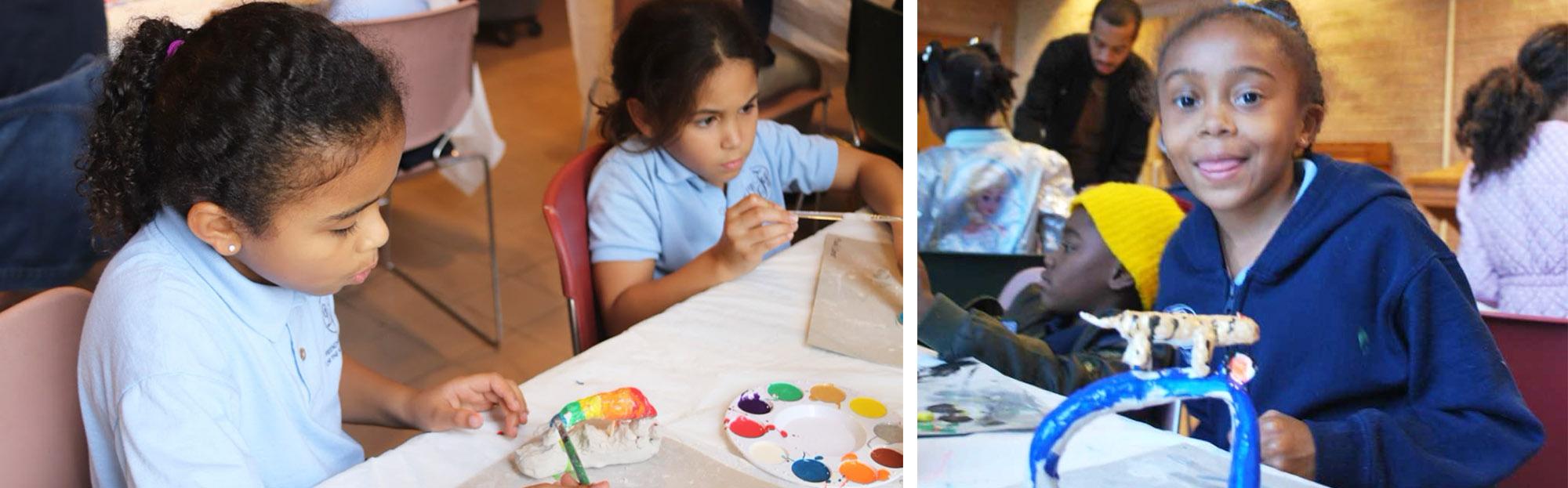 Students enjoying art projects