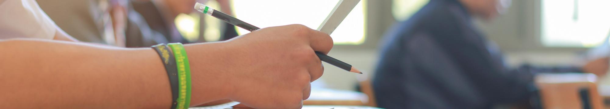 closeup of student writing