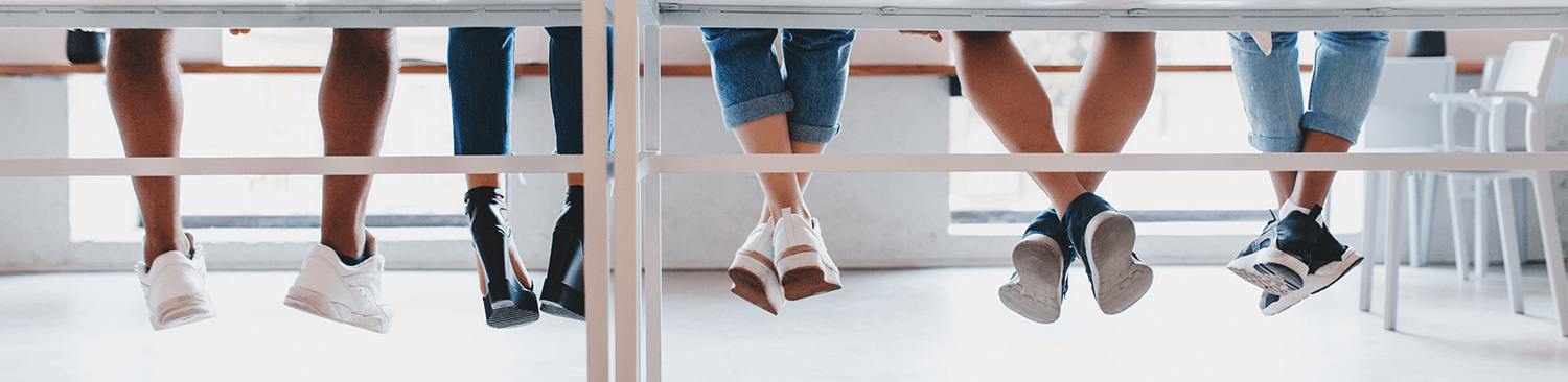 students feet hanging down