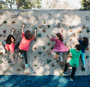 Happy students on the climbing wall