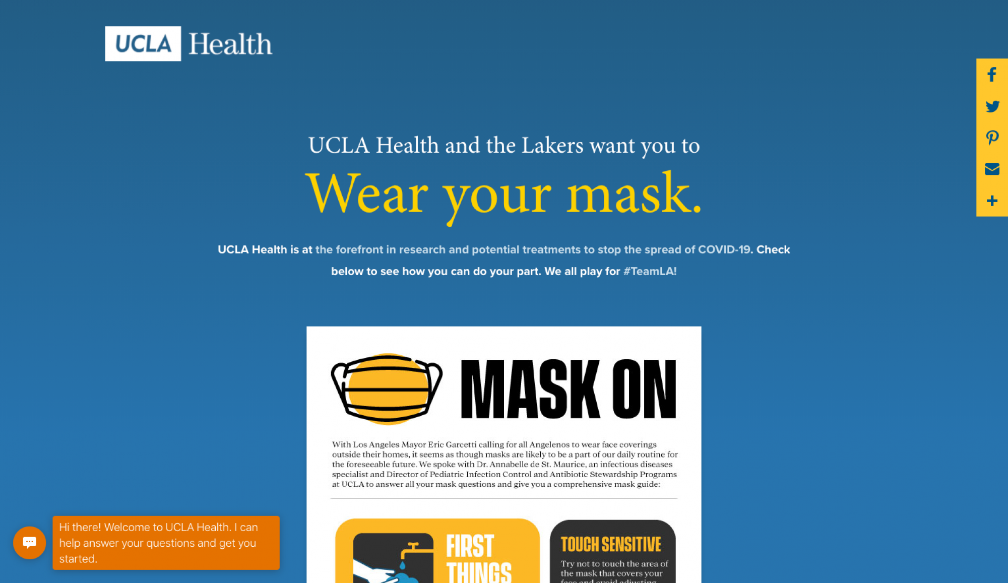 UCLA Health and the Lakers want you to WEAR YOUR MASK Team LA