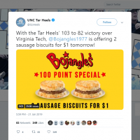 UNC Tar Heels on Twitter With the Tar Heels 103 to 82 victory over Virginia Tech Bojangles1977 is offering 2 sausage biscuits for 1 tomorrow https t co V66m SW Debq 1
