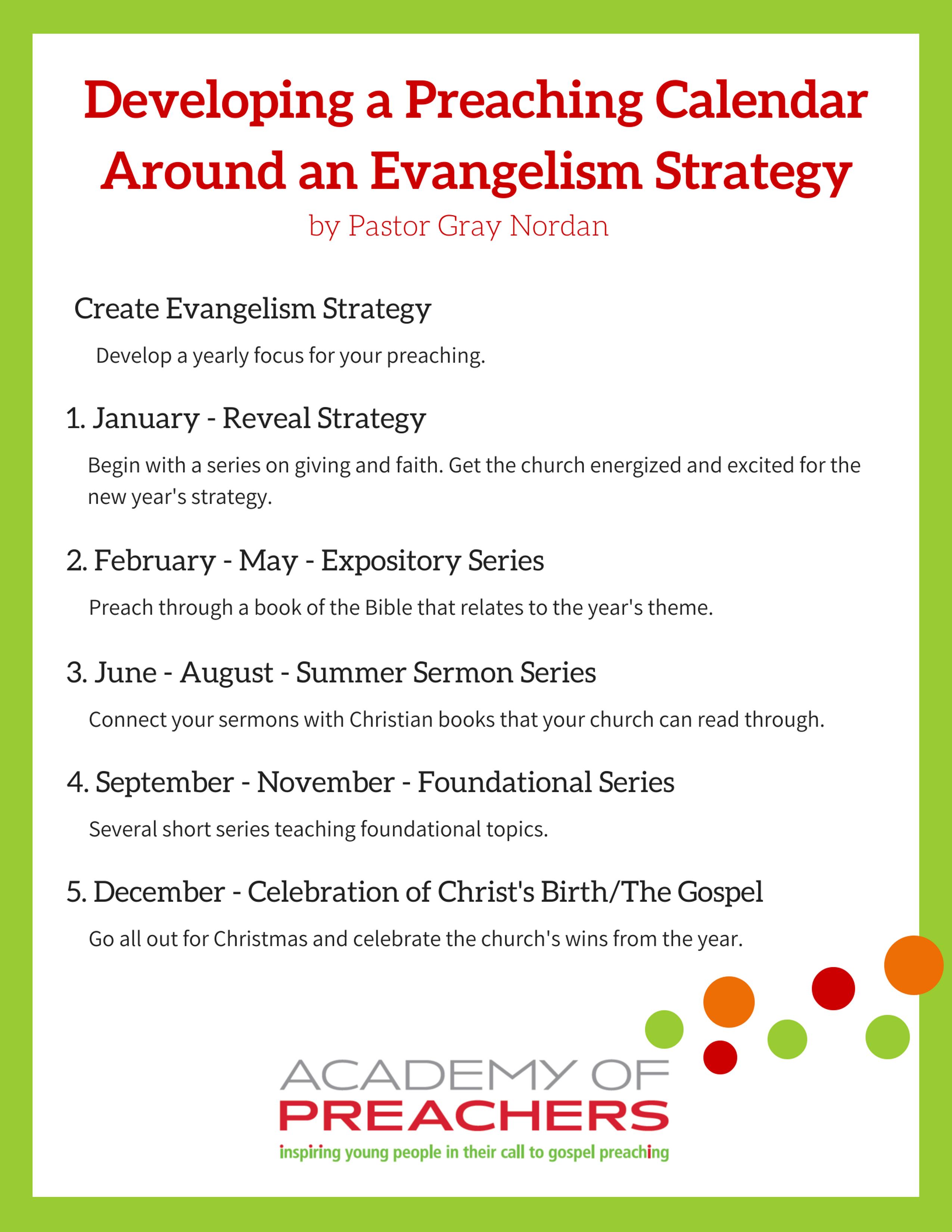 Developing a Preaching Calendar - Pastor Gray Nordan - Academy of ...