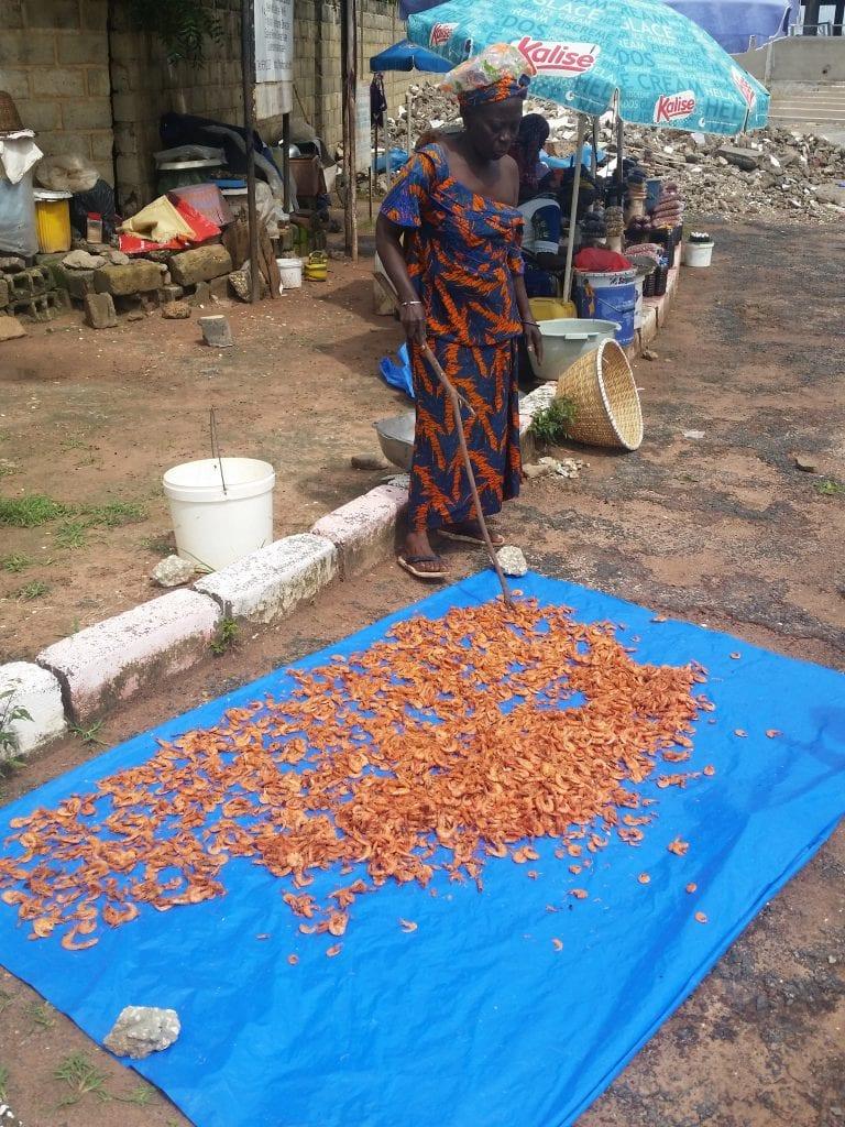 Elle vend les crevettes/She sells shrimp