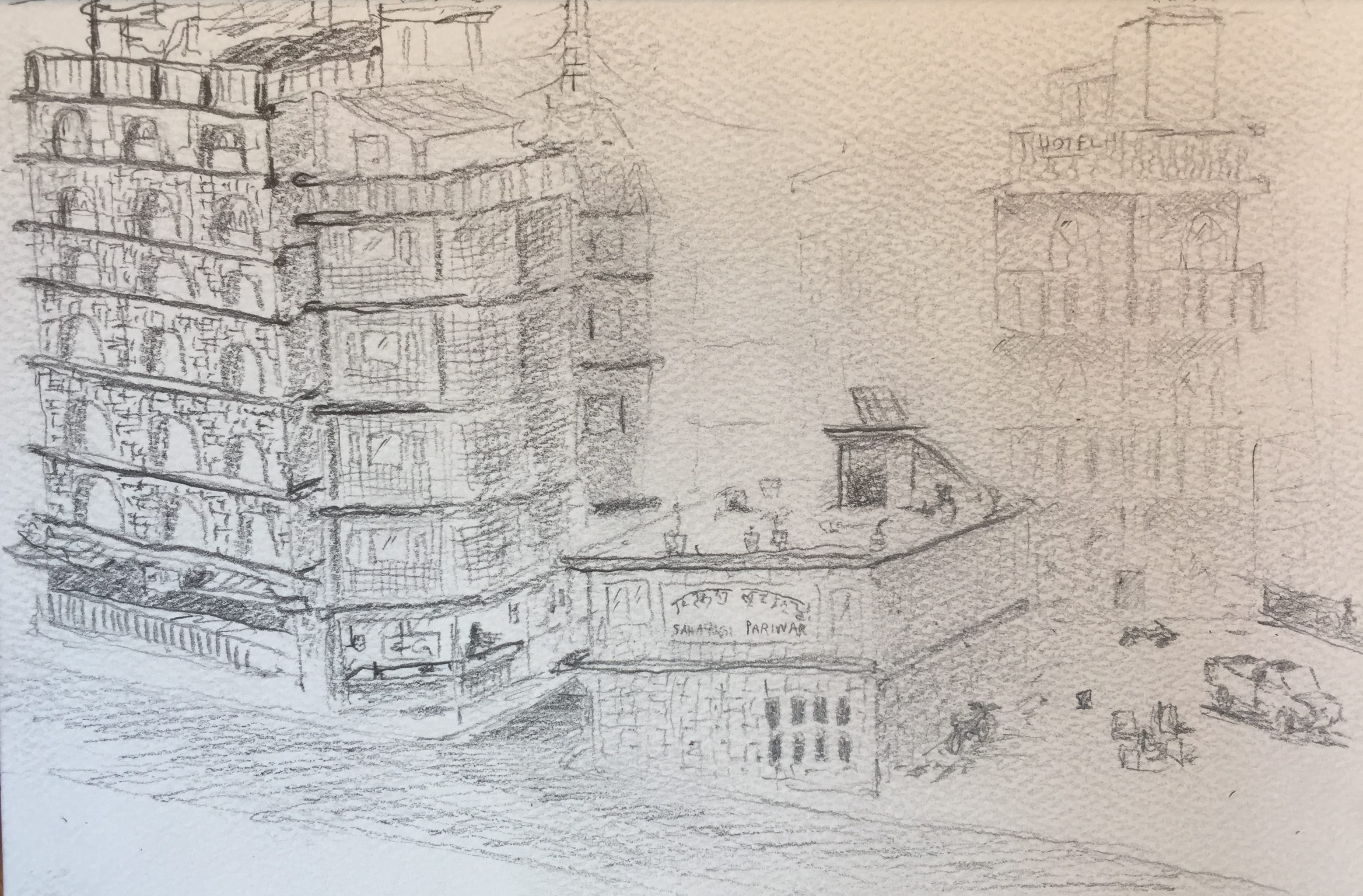 My sketch of the view from Hotel Prince Kathmandu.