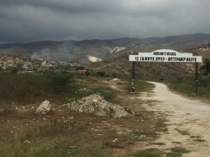 """The sobering entrance of the mass grave site where hundreds of bodies were dumped after the 2010 earthquake. """"Haiti will not forget."""""""