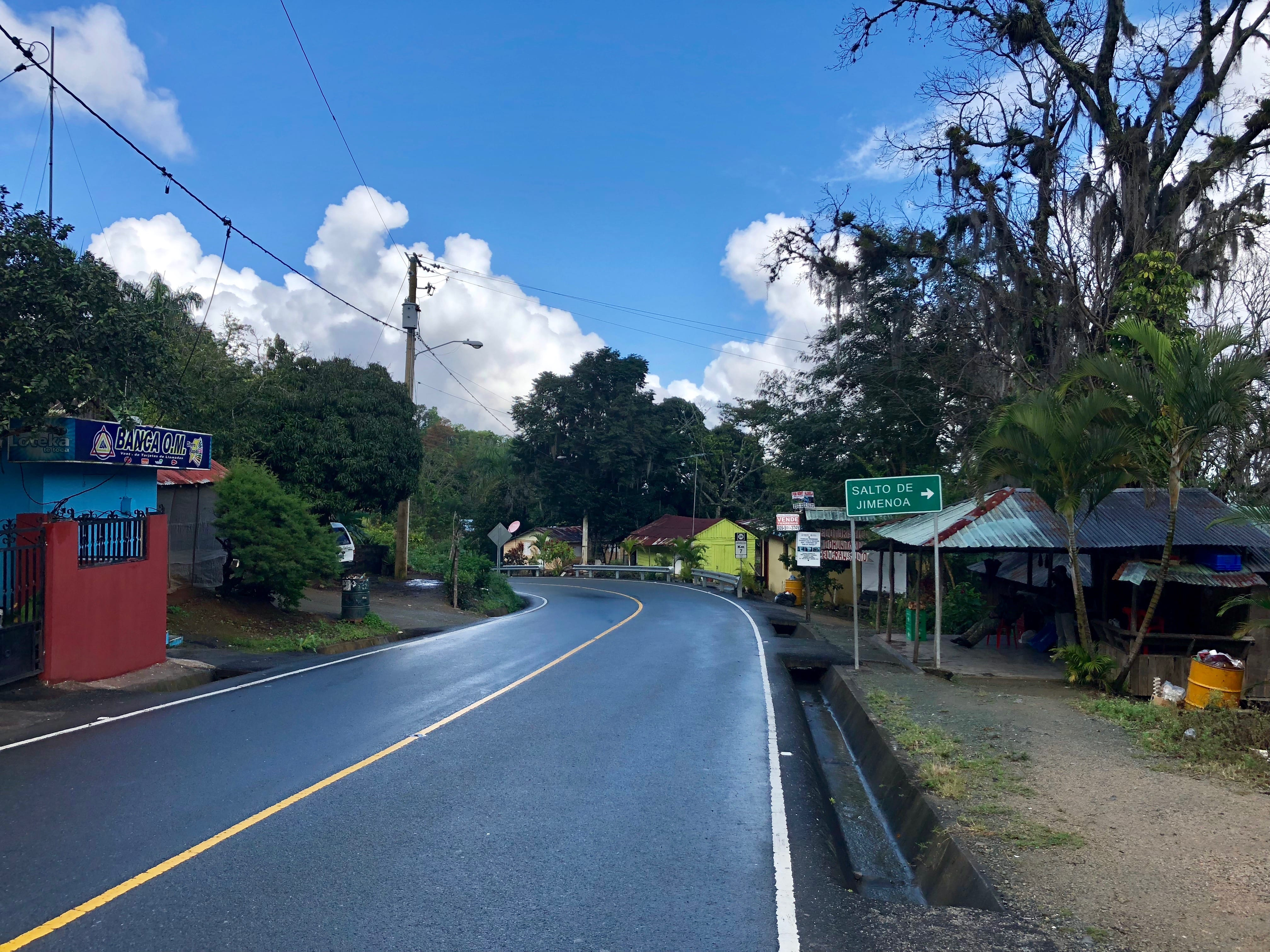 A road winding up the mountainous town of Jarabacoa