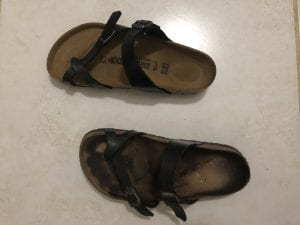 The tale of two Birkenstocks...one fresh out of the box and another having walked hundreds of miles all around Haiti. Oh the stories those shoes could tell!