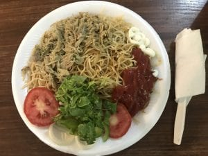 Haitian Spaghetti by Rosemanie at 2SG. They use ketchup instead of pasta sauce and it's actually really good!