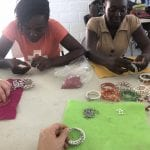Jewelry and friend making time at a new job creation boutique up the road