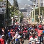 The population takes to the streets in Port au Prince to protest the current administration