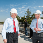 """""""Bob the Builder"""" attends topping out of University's Dining and Academic Complex"""