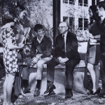 President Dr. Herbert Gabhart gathers with students on the quad