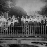 Belmont College Class on Bell Tower Moat Bridge