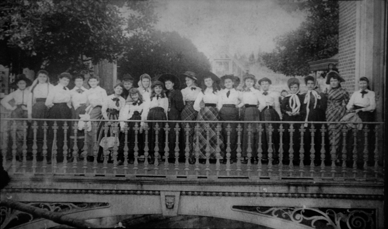 Belmont College Class on Bell Tower Moat Bridge