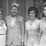 Sarah C. Cannon (Minnie Pearl), second from left, returns to campus