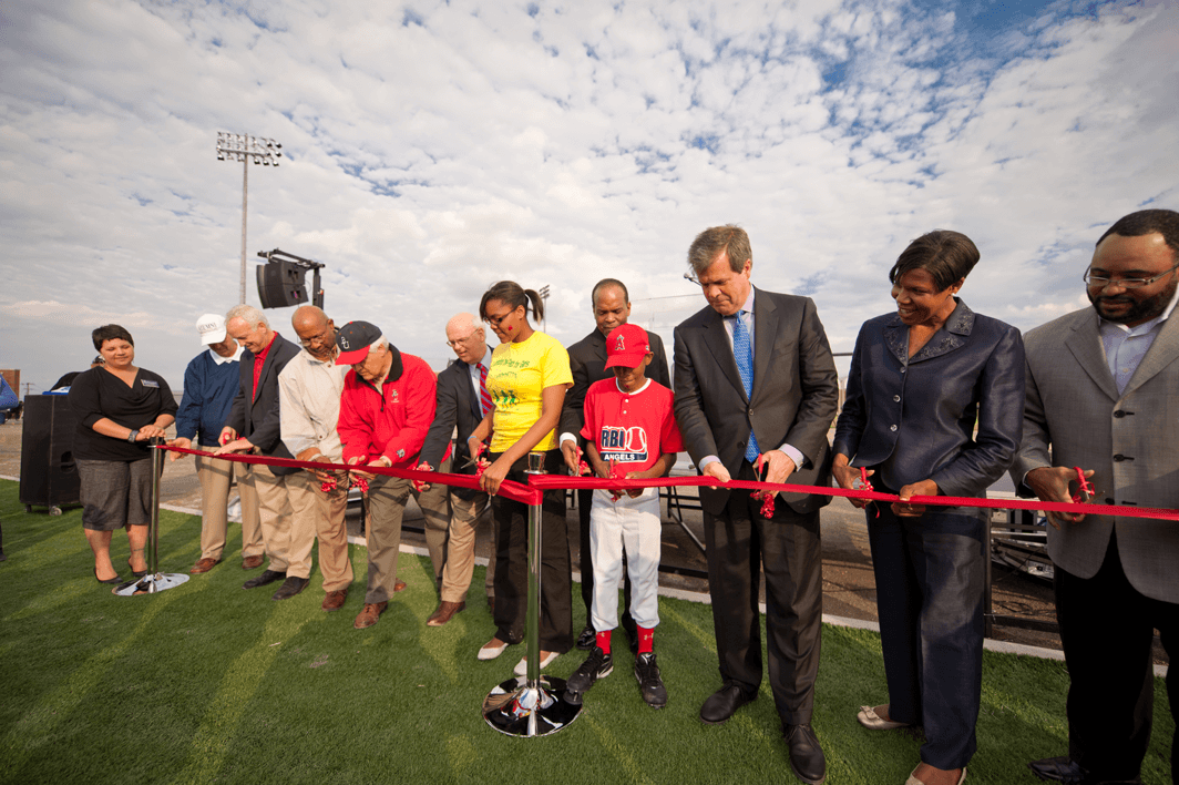 Ribbon-cutting at Rose Park, a community partnership for Belmont's NCAA athletic facilities