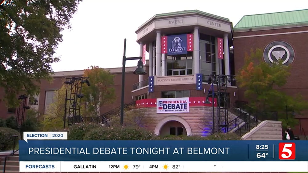 Channel 5 CBS screenshot of Belmont Debate.