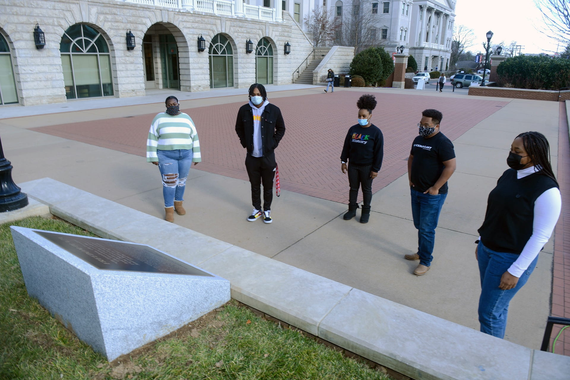 Black Student Association (BSA) Antionedra Maupin, Gilbert Dozier, Haily McGee, Marcus Knight and Jazmyn Pickstock pose for a picture in the newly unveiled Freedom Plaza at Belmont University in Nashville, Tennessee, January 18, 2021. Freedom Plaza was a announcement this morning in celebration of MLK day.