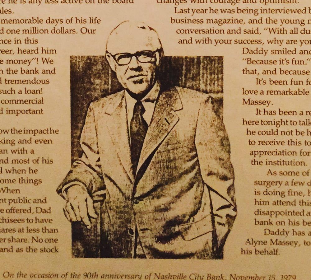 Jack C. Massey photo in an older newspaper