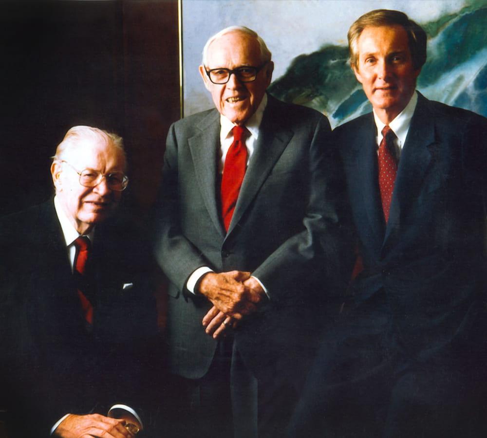 Thomas Frist Jr. with Thomas Frist Sr. and Jack Massey