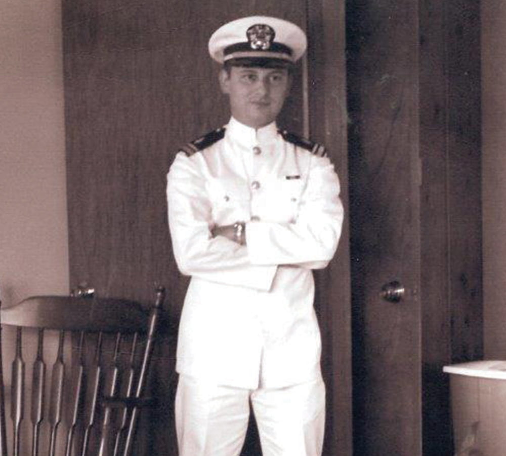 Young Jack Bovender in a navy officer uniform