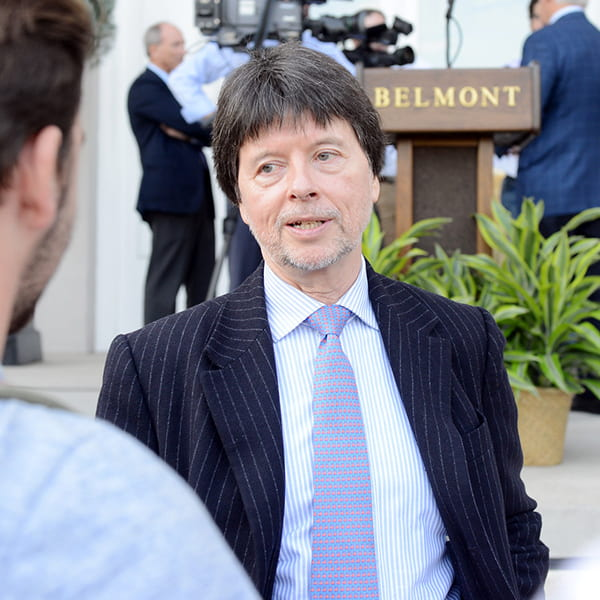 Ken Burns talking to a student