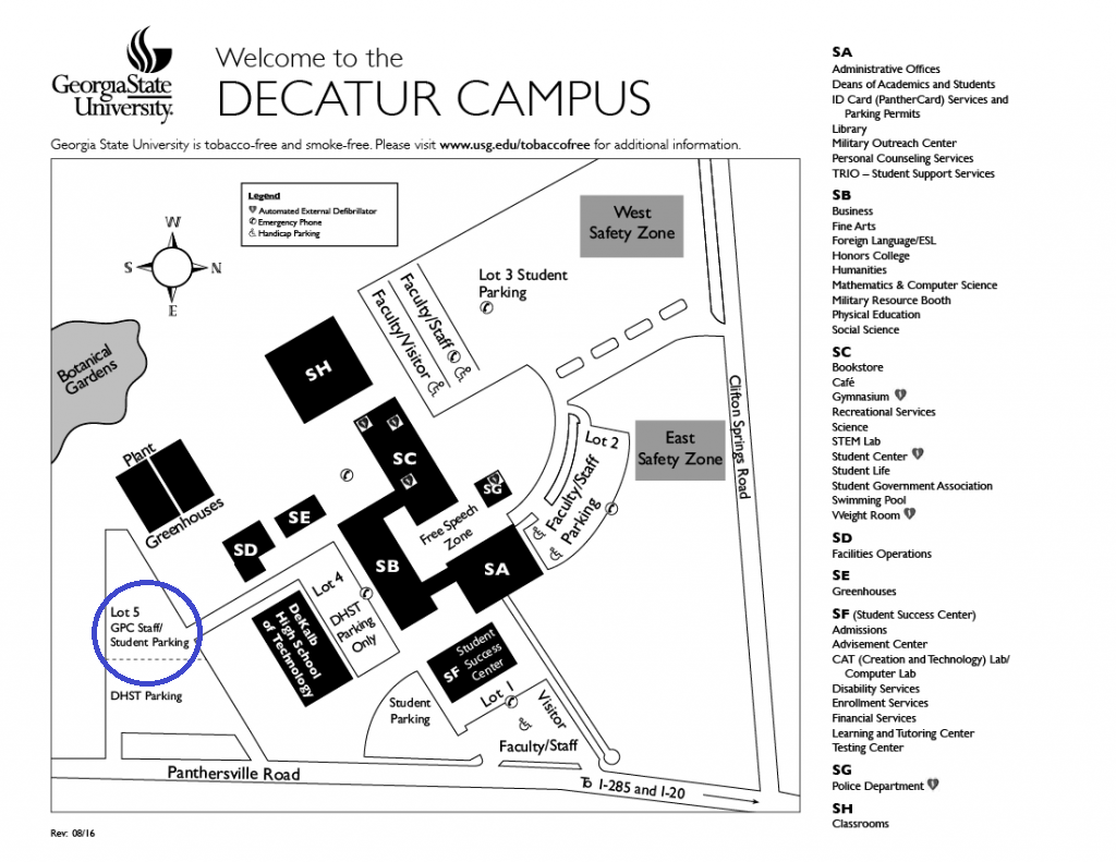 Map of Perimeter College Decatur campus with garden parking pointed out.