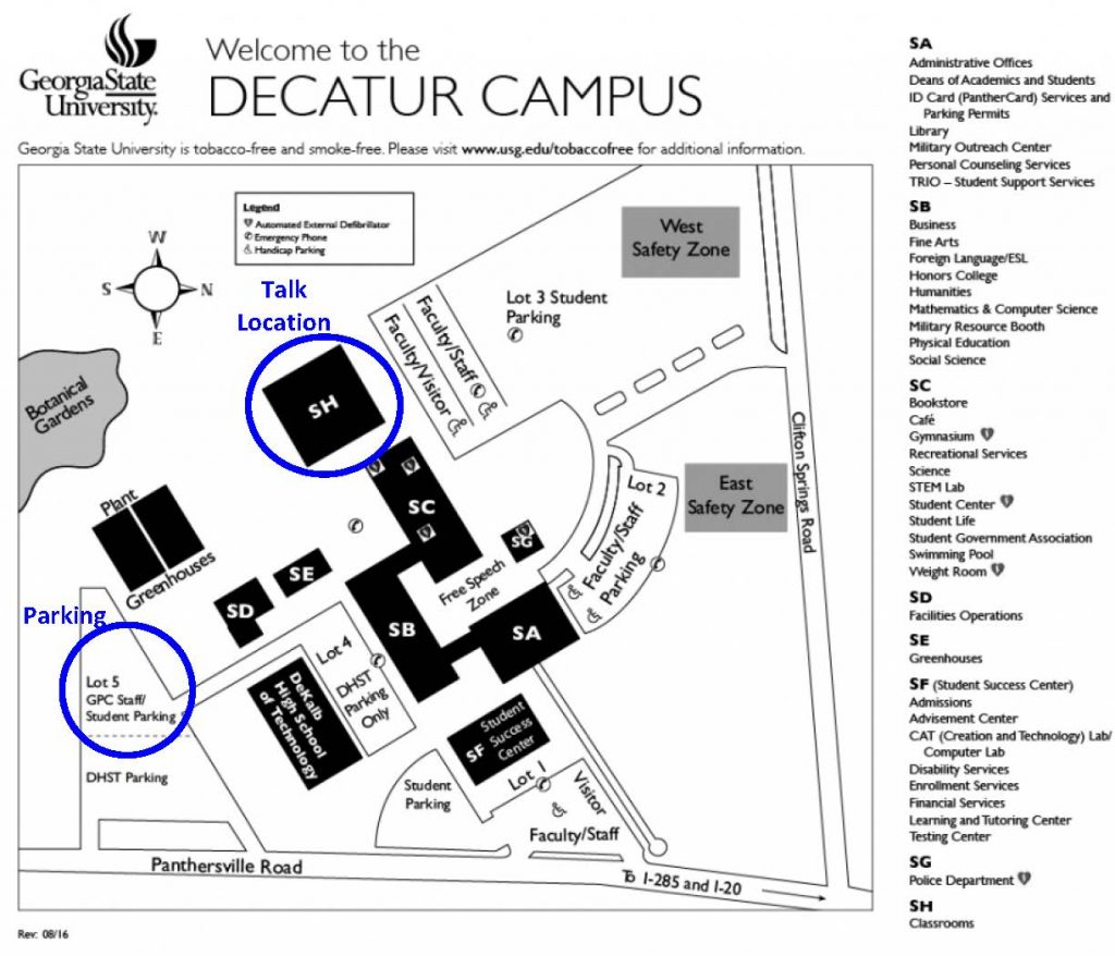 Map of the Perimeter College Decatur Campus with locations for talks and parking pointed out.