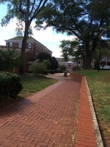 Brick pathway along classroom halls and lawn