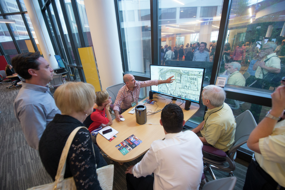 """Dr. Brennan Collins and Dr. Timothy Crimmins explain the """"Stadiumville"""" interactive documentary and mapping project."""