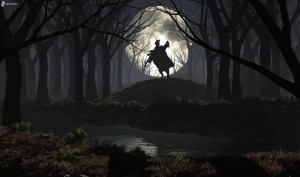 dark-forest-woman-on-horse-silhouette-moon-forest-creek-229944