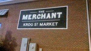 Sign for Krog Street Market tenant painted on the side of the building