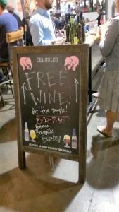 A sign for free alcohol inside Krog Street Market